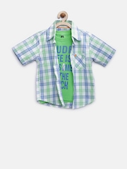612 League Boys Off-White & Green Checked Clothing Set