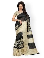 Heena Black & Beige Bhagalpuri Cotton Floral Print Saree