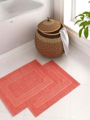 Portico New York Splendour Coral Orange Set of 2 Rectangular Bath Rugs