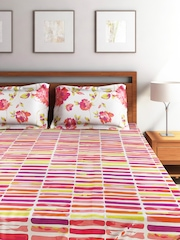 Portico New York Marvella Multicoloured Cotton Double Bedsheet with 2 Pillow Covers