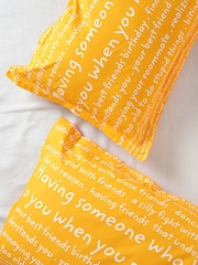 Portico New York Happiness Is Yellow Set of 2 Text Print 18'' x 27'' Rectangular Pillow Covers