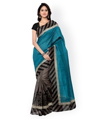 Florence Blue & Grey Bhagalpuri Silk Printed Saree