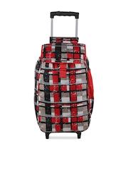 Bleu Women Red & Grey Checked Trolley Bag