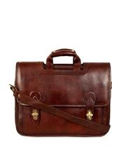 SCHARF Brown Leather Laptop Bag