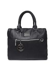 Satya Paul Black Textured Leather Handbag with Sling Strap