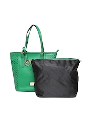 Satya Paul Green Leather Shoulder Bag with Pouch