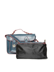 Satya Paul Teal Blue Leather Satchel with Pouch