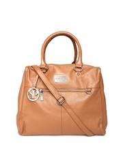 Satya Paul Tan Brown Textured Leather Handbag