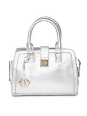Satya Paul Silver-Toned Glossy Textured Handbag