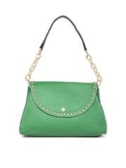 Satya Paul Green Textured Leather Shoulder Bag