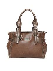 Satya Paul Brown Textured Leather Handbag