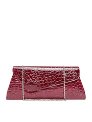 Satya Paul Wine-Coloured Textured Clutch with Chain Strap