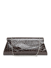 Satya Paul Brown Textured Clutch with Chain Strap