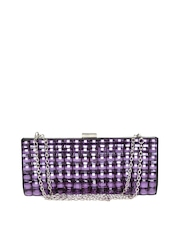 Satya Paul Purple Stone-Studded Clutch with Chain Strap