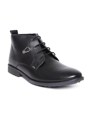 Lee Cooper Men Black Leather Semiformal Shoes