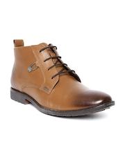 Lee Cooper Men Tan Brown Leather Semiformal Shoes