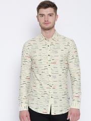 Status Quo Beige Printed Slim Casual Shirt