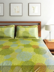 SEJ by Nisha Gupta Green Cotton Double Bedsheet with 2 Pillow Covers