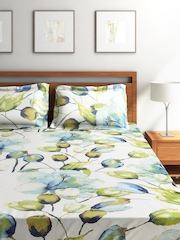 SEJ by Nisha Gupta White Cotton Double Bedsheet with 2 Pillow Covers