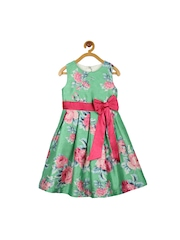 My Lil Berry Girls Green Floral Print A-Line Dress