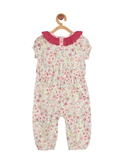 My Lil Berry Girls White Floral Print Rompers