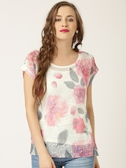 QUIZ White Polyester Floral Print Sequinned Top