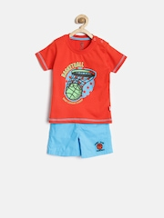 Baby League by 612 League Boys Red & Blue Printed Clothing Set