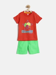 Baby League by 612 League Boys Red & Green Printed Clothing Set