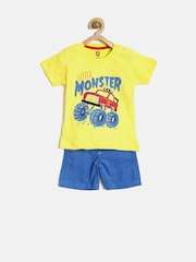 Baby League by 612 League Boys Yellow & Blue Printed Clothing Set