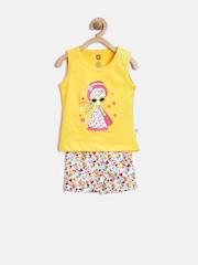 Baby League Girls Yellow & Cream-Coloured Printed Clothing Set