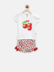 Baby League Girls White Cherry Print Clothing Set