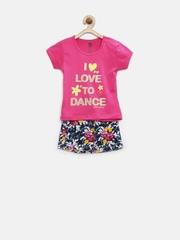 Baby League Girls Pink & Navy Printed Clothing Set
