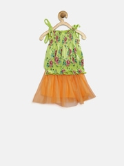 Baby League Girls Green & Orange Floral Print Clothing Set