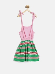 Baby League Girls Pink Striped Fit & Flare Dress