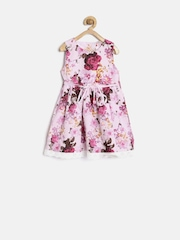 Baby League Girls Pink Floral Print Fit & Flare Dress