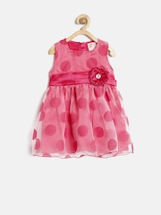 Baby League by 612 League Girls Pink Polyester Printed Net Fit & Flare Dress