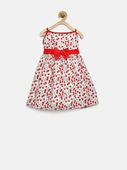 Baby League White & Red Cherry Print Fit & Flare Dress