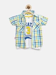 Baby League Boys Blue & White Checked Clothing Set