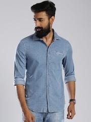 GAS Blue Denim Casual Shirt