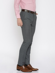 Wills Lifestyle Men Grey Self-Design Skinny Fit Flat-Front Trousers