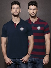 Roadster Men Pack of 2 Polo T-shirts