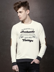 Roadster Men Cream-Colored Printed Sweatshirt