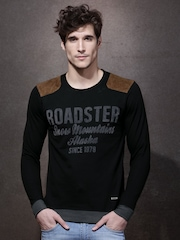 Roadster  Black Printed Round Neck T-Shirt