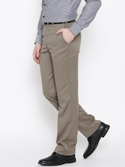 Park Avenue Taupe Slim Formal Trousers
