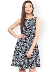 Femella Navy & White Floral Print Fit & Flare Dress