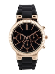 New Look Women Black Stone-Studded Dial Watch 3497267