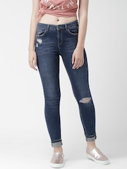 New Look Blue Washed Distressed Skinny Jeans
