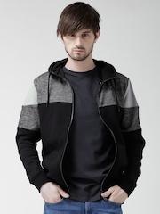 New Look Black Panelled Hooded Sweatshirt