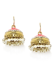 Fida Pink & Gold-Toned Jhumka Earrings