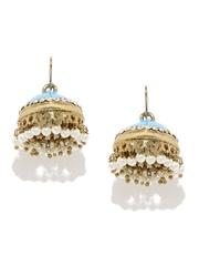 Fida Blue & Gold-Toned Jhumka Earrings